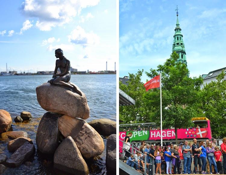 little mermaid, sirenita a la izquierda y multitud esperando para hacer un tour en barco por el canal a la derecha | Copenhagen| stylefeelfree